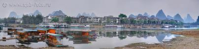 阳朔古镇风光, Яншо, бамбуковые плоты на реке Лицзян (Bamboo Boat, Li River , Yangshuo County, Guangxi Zhuang Autonomous Region)
