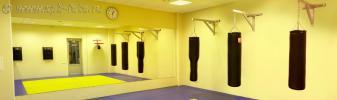 На фото: интерьер фитнес-центра – зал борьбы