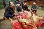 Отрезанная голова свиньи и группа китайцев, занятых разделкой свинины, фото