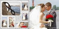 Свадебная фотосессия с видом на Неву и стрелку Васильевского острова в Санкт-Петербурге