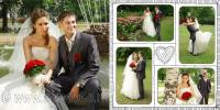 Коллажи на развороте свадебной книги