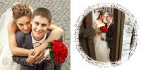 Квадратная свадебная книга с фотографиями на белом фоне