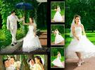 Коллажи из свадебных фотографий на страницах фото-книги