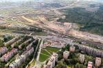 На фото пересечение Дачного проспекта с проспектом Народного ополчения в период строительства большого транспортного узла