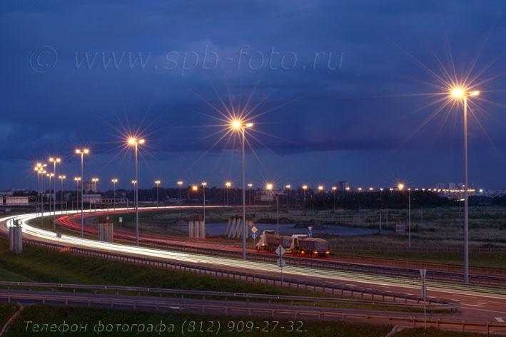 Вечернее освещение КАД, фото