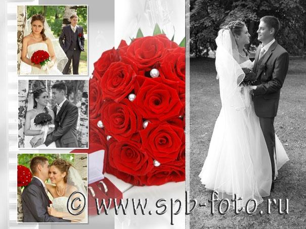 Букет невесты, составленный из красных роз, фото
