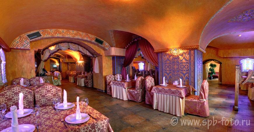 Интерьер ресторана, панорамная фотография