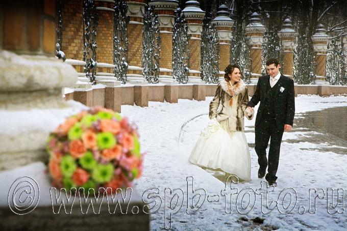 Свадебное фото, зима, февраль, снегопад, Петербург 2012