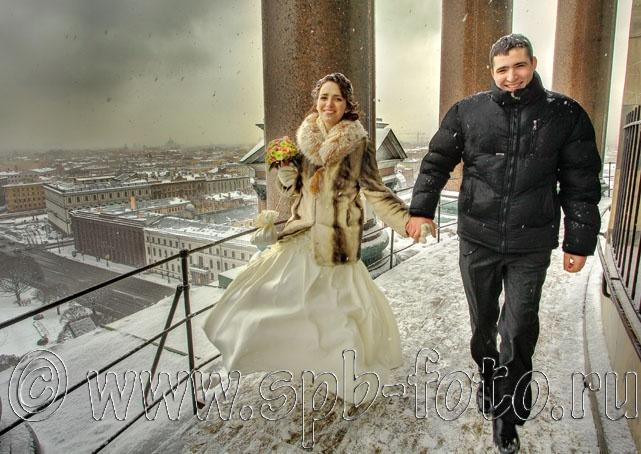 Зимняя свадебная фотосъемка в пасмурную погоду